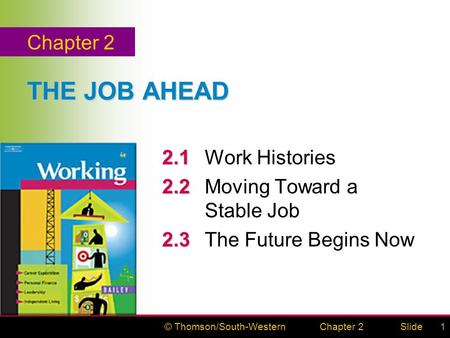 © Thomson/South-WesternSlideChapter 21 THE JOB AHEAD 2.1 2.1Work Histories 2.2 2.2Moving Toward a Stable Job 2.3 2.3The Future Begins Now Chapter 2.