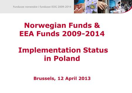 Norwegian Funds & EEA Funds 2009-2014 Implementation Status in Poland Brussels, 12 April 2013.