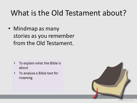 What is the Old Testament about? Mindmap as many stories as you remember from the Old Testament. To explain what the Bible is about To analyse a Bible.
