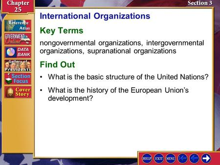 Section 3 Introduction-1 International Organizations Key Terms nongovernmental organizations, intergovernmental organizations, supranational organizations.