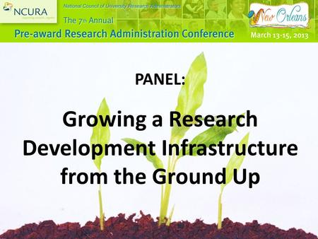 PANEL: Growing a Research Development Infrastructure from the Ground Up.