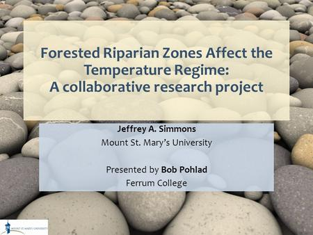 Forested Riparian Zones Affect the Temperature Regime: A collaborative research project Jeffrey A. Simmons Mount St. Mary's University Presented by Bob.