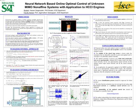 Neural Network Based Online Optimal Control of Unknown MIMO Nonaffine Systems with Application to HCCI Engines OBJECTIVES  Develop an optimal control.