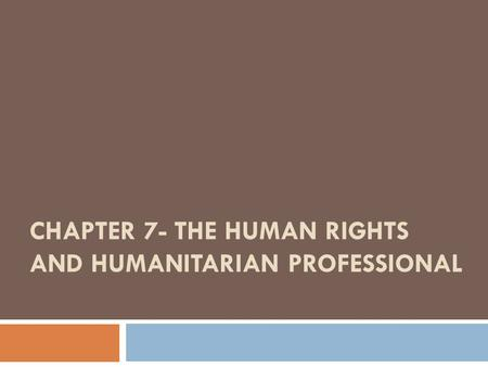 CHAPTER 7- THE HUMAN RIGHTS AND HUMANITARIAN PROFESSIONAL.