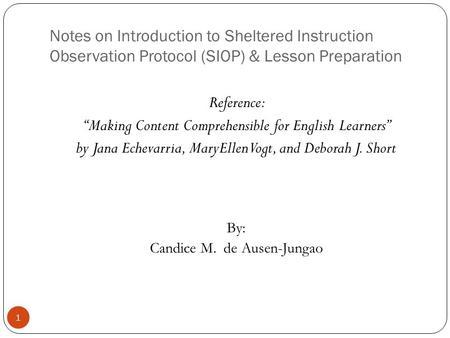 sheltered instruction observation protocol siop model