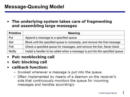 1 CS 6823 ASU Message-Queuing Model The underlying system takes care of fragmenting and assembling large messages Put: nonblocking call Get: