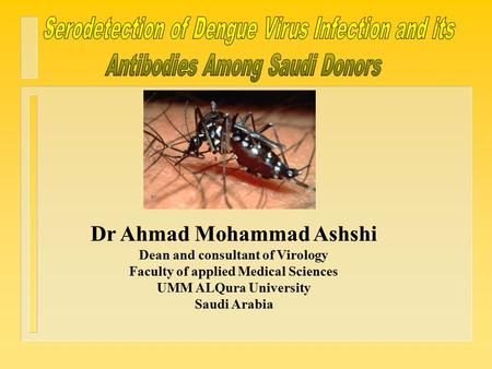 Why do we care about it? What is Dengue? Is It Endemic In KSA? Infected Aedes mosquito Mode of Transmission ? Aim of the Study De ng ue Methodology Results.