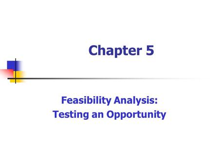 Chapter 5 Feasibility Analysis: Testing an Opportunity.