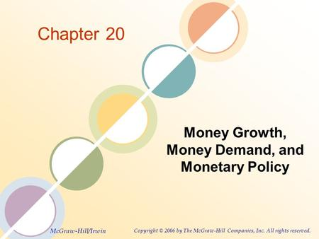 McGraw-Hill/Irwin Copyright © 2006 by The McGraw-Hill Companies, Inc. All rights reserved. Chapter 20 Money Growth, Money Demand, and Monetary Policy.