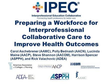 Preparing a Workforce for Interprofessional Collaborative Care to Improve Health Outcomes Carol Aschebrener (AAMC), Polly Bednash (AACN), Lucinda Maine.