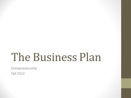 The Business Plan Entrepreneurship Fall 2012. Chapter 3 Slide 2 The Business Plan business plan a written document that describes all the steps necessary.