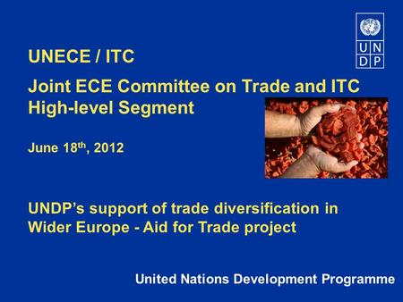 UNECE / ITC Joint ECE Committee on Trade and ITC High-level Segment June 18 th, 2012 UNDP's support of trade diversification in Wider Europe - Aid for.