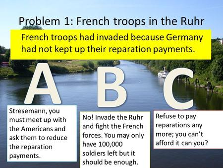 Problem 1: French troops in the Ruhr French troops had invaded because Germany had not kept up their reparation payments. Stresemann, you must meet up.