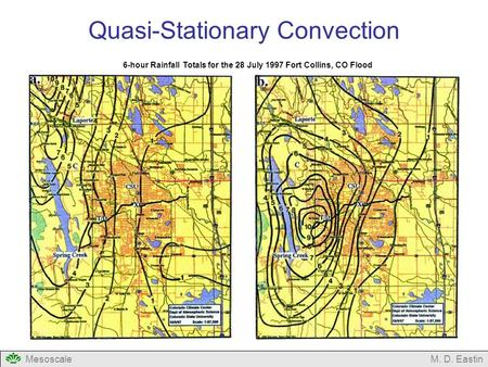 MesoscaleM. D. Eastin Quasi-Stationary Convection 6-hour Rainfall Totals for the 28 July 1997 Fort Collins, CO Flood.