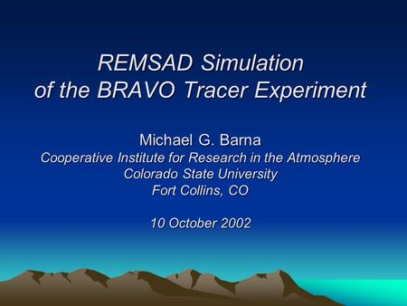 REMSAD Simulation of the BRAVO Tracer Experiment Michael G. Barna Cooperative Institute for Research in the Atmosphere Colorado State University Fort Collins,