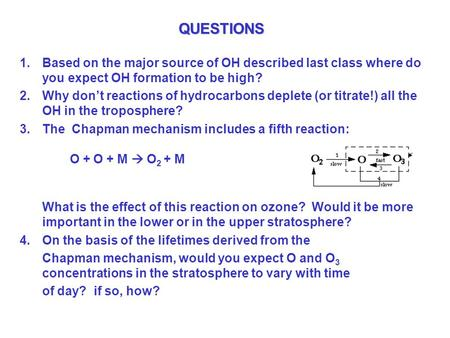 QUESTIONS 1.Based on the major source of OH described last class where do you expect OH formation to be high? 2.Why don't reactions of hydrocarbons deplete.