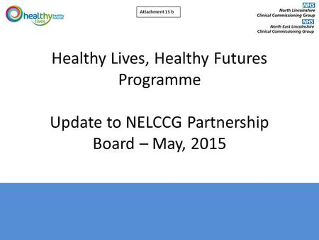 Healthy Lives, Healthy Futures Programme Update to NELCCG Partnership Board – May, 2015 Attachment 13 b.