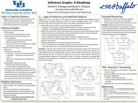 Inference Graphs: A Roadmap Daniel R. Schlegel and Stuart C. Department of Computer Science and Engineering L A – Logic of Arbitrary.