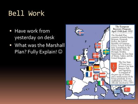 Bell Work  Have work from yesterday on desk  What was the Marshall Plan? Fully Explain!