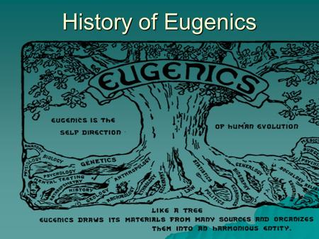 "History of Eugenics.  Eugenics: from the Greek ""eugenes"" for ""good birth"" [Greek] eu- = well [Greek] -suffix -genēs = born  Good in stock, hereditarily."