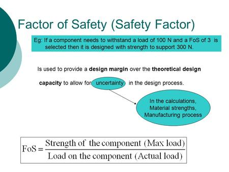 Factor of Safety (Safety Factor) In the calculations, Material strengths, Manufacturing process Is used to provide a design margin over the theoretical.
