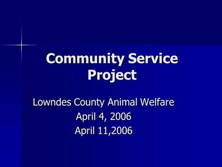 Community Service Project Lowndes County Animal Welfare April 4, 2006 April 11,2006.