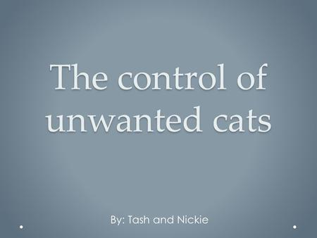 The control of unwanted cats By: Tash and Nickie.