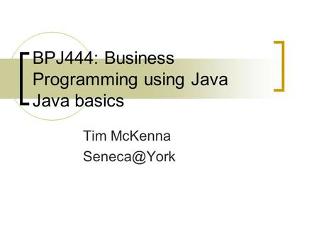 BPJ444: Business Programming using Java Java basics Tim McKenna