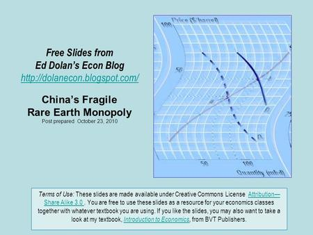 Free Slides from Ed Dolan's Econ Blog  China's Fragile Rare Earth Monopoly Post prepared October 23, 2010