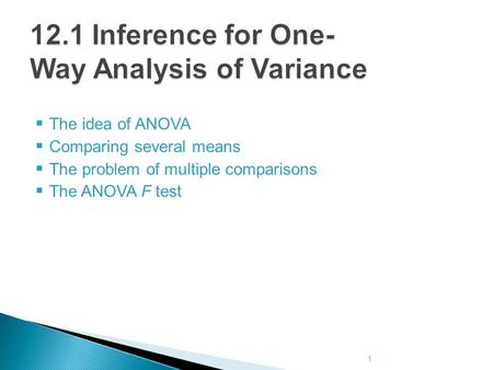  The idea of ANOVA  Comparing several means  The problem of multiple comparisons  The ANOVA F test 1.