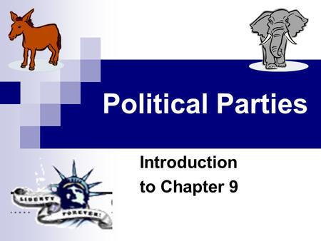 Political Parties Introduction to Chapter 9. Political Parties Political parties are groups with broad common interests that seek to elect candidates.