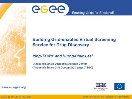 EGEE-II INFSO-RI-031688 Enabling Grids for E-sciencE www.eu-egee.org EGEE and gLite are registered trademarks Building Grid-enabled Virtual Screening Service.
