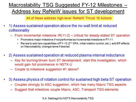 S.A. Sabbagh for NSTX Macrostability TSG Macrostability TSG Suggested FY-12 Milestones – Address key ReNeW issues for ST development 1) Assess sustained.
