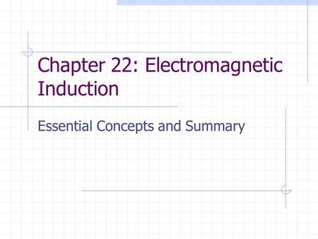 Chapter 22: Electromagnetic Induction Essential Concepts and Summary.