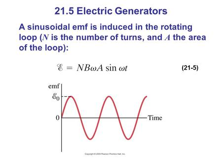 21.5 Electric Generators A sinusoidal emf is induced in the rotating loop ( N is the number of turns, and A the area of the loop): (21-5)