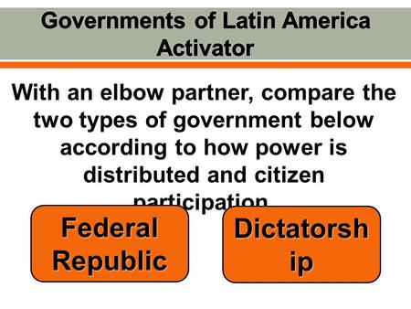 With an elbow partner, compare the two types of government below according to how power is distributed and citizen participation. Federal Republic Dictatorsh.