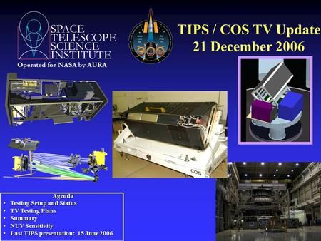 SPACE TELESCOPE SCIENCE INSTITUTE Operated for NASA by AURA TIPS / COS TV Update 21 December 2006 Agenda Agenda Testing Setup and Status Testing Setup.