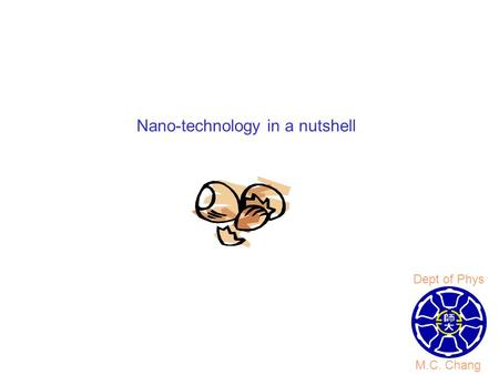 Nano-technology in a nutshell M.C. Chang Dept of Phys.