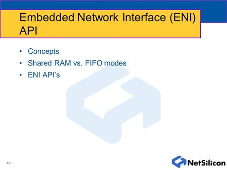 1-1 Embedded Network Interface (ENI) API Concepts Shared RAM vs. FIFO modes ENI API's.