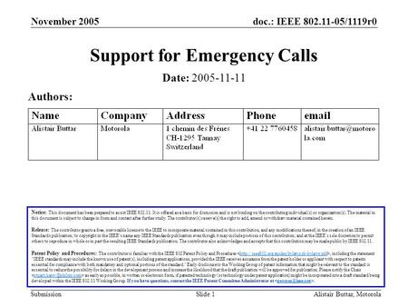 Doc.: IEEE 802.11-05/1119r0 Submission November 2005 Alistair Buttar, MotorolaSlide 1 Support for Emergency Calls Notice: This document has been prepared.