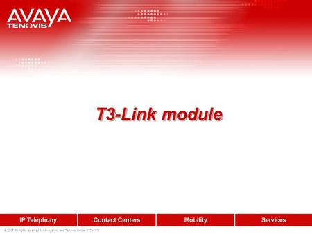 © 2005 All rights reserved for Avaya Inc. and Tenovis GmbH & Co. KG T3-Link module T3-Link module.