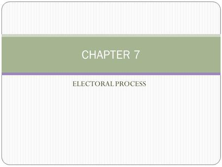 ELECTORAL PROCESS CHAPTER 7. Nominations v. Elections Spring (January – June) = Nominations Fall (November) = Elections.