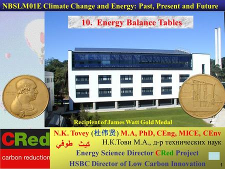 1 N.K. Tovey ( 杜伟贤 ) M.A, PhD, CEng, MICE, CEnv Н.К.Тови М.А., д-р технических наук Energy Science Director CRed Project HSBC Director of Low Carbon Innovation.