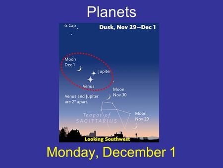 Planets Monday, December 1. What is a planet? A ball of gas, liquid, and/or solid, orbiting a star, whose size is neither too big nor too small for a.