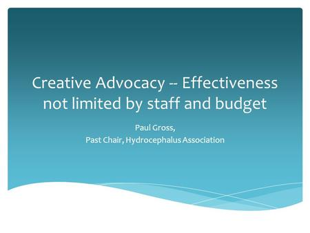 Creative Advocacy -- Effectiveness not limited by staff and budget Paul Gross, Past Chair, Hydrocephalus Association.