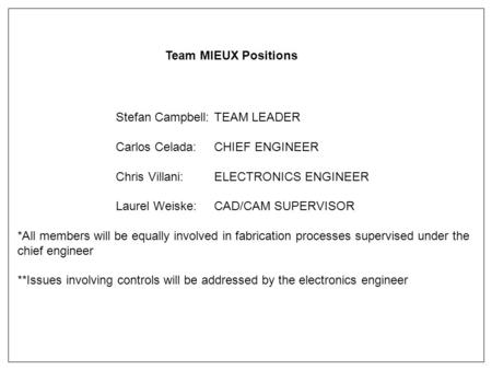Stefan Campbell: TEAM LEADER Carlos Celada:CHIEF ENGINEER Chris Villani:ELECTRONICS ENGINEER Laurel Weiske:CAD/CAM SUPERVISOR *All members will be equally.