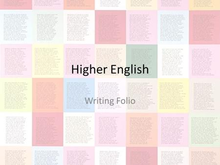 higher english creative writing poem General marking principles for advanced higher english portfolio writing each piece of creative writing should be at least 1000 words when writing poetry.