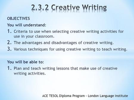 diploma creative writing