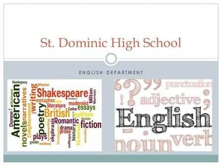 ENGLISH DEPARTMENT St. Dominic High School. Overview All courses address the demands of the Common Core Curriculum Ready for the rigors of college in.