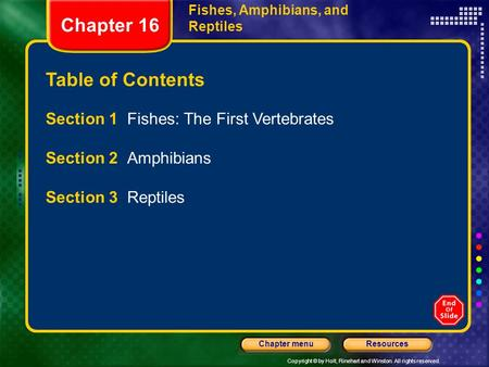 Chapter 16 Table of Contents Section 1 Fishes: The First Vertebrates